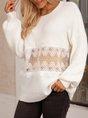 White Crew Neck Plain Sweet See-Through Look Sweater