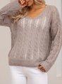 Gray V Neck Cotton-Blend Long Sleeve Plain Sweater