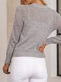 Grey Long Sleeve Color-Block V Neck Knitted Sweater
