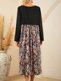 Floral Holiday Shift Long Sleeve Pockets Midi Dress