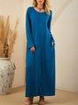 Blue Casual Plain Maxi Dress