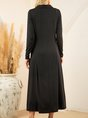 Black Casual A-Line Solid Long Sleeve Dress