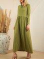 Green Plain Crew Neck Long Sleeve A-Line Dress