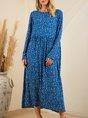 Blue Printed Crew Neck Polka Dots Long Sleeve Dress