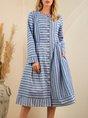 Blue A-Line Paneled Stripes Casual Dress