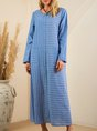 Blue A-Line Stripes Going Out Casual Dress