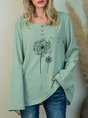 Green Crew Neck Casual Floral-Print Top