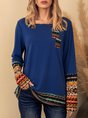 Blue Casual Tribal Crew Neck Top
