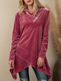 Pink Casual Plain Long Sleeve Top