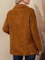Brown Plain Shift Long Sleeve Outerwear