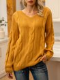 Yellow Jacquard Long Sleeve Pullover