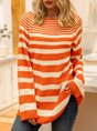 Orange Stripes Long Sleeve Color-Block Sweater