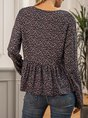 Flower Casual Crew Neck Floral Top