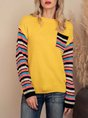 Yellow Casual Acrylic Color-Block Sweater