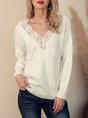 White V Neck Guipure Lace Long Knitted Sleeve Sweater