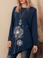 Blue Floral-Print Long Sleeve Crew Neck Top