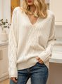 Apricot Knitted Shift Long Sleeve Sweater