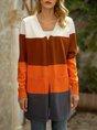 Coffee Long Sleeve Color-block Sweater