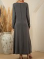 Gray Solid Shift Casual Pockets Maxi Dress