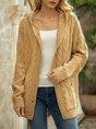 Khaki Casual Pockets Long Sleeve Shift Hoodie Sweater