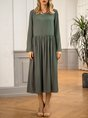 Grey Long Sleeve Shift Plain Midi Dress