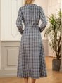 Grey Checkered/plaid Long Sleeve V Neck Midi Dress