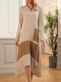 Khaki Long Sleeve Color-Block Dress