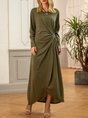 Green Long Sleeve Tiered Plain Dress