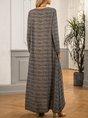 Black V Neck Shift Long Sleeve Maxi Dress