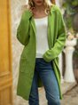 Green Long Sleeve Casual Hoodie Pockets Sweater