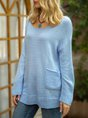 Blue Solid Casual Long Sleeve Sweater