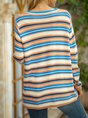 Blue Long Sleeve Color-Block Shift Sweater