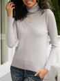 Light Gray Solid Shift Casual Long Sleeve Basic Sweater