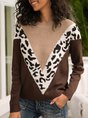 Coffee Knitted Long Sleeve Casual Leopard Sweater