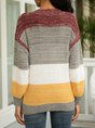 Red V Neck Stripes Long Sleeve Sweater