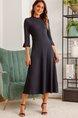 Deep Blue Half Sleeve Vintage Dress