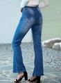 Blue Solid Denim Casual  Pockets Pants