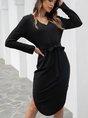 V Neck Black Sheath Daily Mini Dress