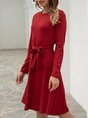 Wine Red Daily Casual Mini Dress