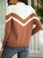 Off White Long Sleeve Color-Block Solid Shift Sweater