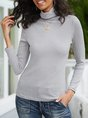 Gray Turtleneck Long Sleeve Plain Top