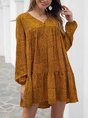 Yellow Polka Dots Shift Casual Mini Dress