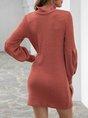 Orange Long Sleeve Solid Crew Neck Dress