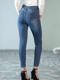 Dark_Blue Pockets Casual Solid Denim Pants