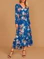 Blue Holiday Long Sleeve Midi Dress