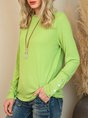 Long Sleeve Casual Solid Buttoned Top