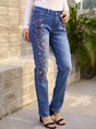 Embroidered Denim Casual Pants