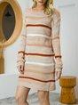 Khaki Crew Neck Long Sleeve Shift Sweater Dress