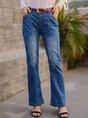 Dark_Blue Casual Plain Denim Pants