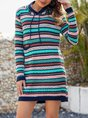 Vintage Knitted Long Sleeve  Sweater Dress